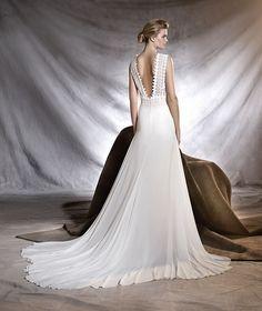 OROBIA - Vestido de noiva com decote em bico combina com gaza, guipura e tule