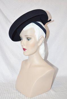 1940s Vintage Blue Felt Wide Brim Tilt Hat by MyVintageHatShop
