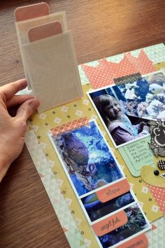 #papercraft #Scrapbook #layout.  Cute flip photos idea on this page using washi tape  the WRMK Tab Punch
