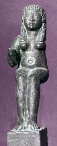 Astarte in southern Spain.   This bronze, like so much Canaanite art, shows clear Egyptian influence. The base bears a Phoenician inscription to Astarte of the Cave. Her wooden throne has disintegrated.