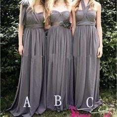 Cheap a-line sleeveless grey long chiffon bridesmaid dress/gray formal dress