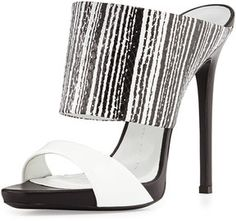 """Giuseppe Zanotti Snake-Print High-Heel Slide Sandal, Black/White :   Slide sandal by Giuseppe Zanotti.  5"""" stiletto heel; 1/2"""" platform; 4 1/2"""" equivalent.  Wide snake-print leather strap across instep.  Patent leather strap across open toe.  Leather lining, footbed, and sole.  Made in Italy.  Daily designer fashion deals on sale on violashopping.com"""