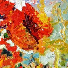 Poppies Oil Painting - Close-up