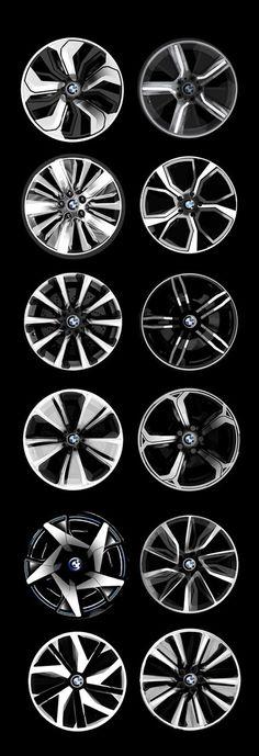 Llantas BMW rim wheel pentagonal central, circular symmetry pattern wheel design concept sketch rendering