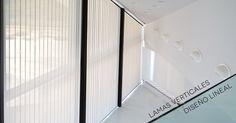 Cortinas verticales inclinadas a 6m de altura con lama de 89mm