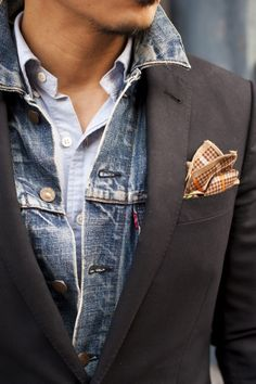 Layering a denim jacket under a blazer - Stylish