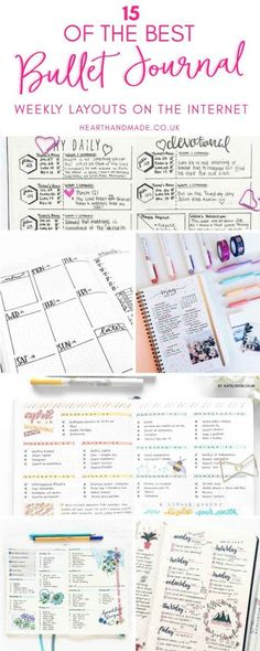 Super Pretty Bullet Journal Weekly layouts. Great ideas for lovely bujo layouts. #bulletjournal #bujo #bulletjournaling #journaling