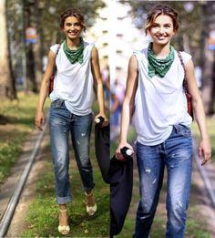 jeans, camiseta, moda, blog de moda, T-shirt, t shirts, camisetas, roupas femininas, roupas, camiseta branca, bandana no pescoço, calça jeans
