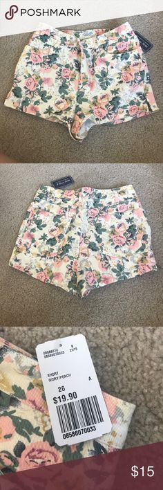 Forever 21 Floral high waisted shorts 26 Never worn! Super cute for summer! Forever 21 Shorts Jean Shorts