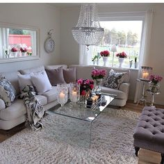 Modern And Cosy Living Room Interior With Pink Rose