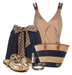 """""""Tan & Navy"""" by flowerchild805 ❤ liked on Polyvore"""
