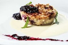 Roasted Banana and blueberry bread pudding with crme anglaise and blueberry compote from 10-01 Food and Drink, located at 1001 Broad Ripple Ave. Indianapolis.  (Michelle Pemberton/The Star)