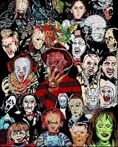 Scary Wallpaper, Halloween Wallpaper Iphone, Cartoon Wallpaper, Arte Horror, Horror Art, Horror Movie Characters, Horror Movies, Horror Icons, Scary Movies