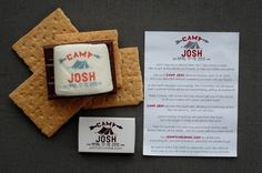 Bar Mitzvah Invite | Camp Theme Bar Mitzvah | Bar Mitzvah Save The Date  These Bar Mitzvah save the dates were sent out a year in advance and included a smore's treat!