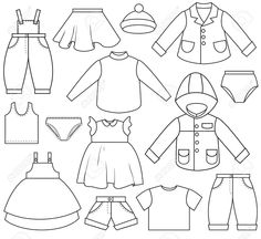 Illustration of A set of different types of clothing vector art, clipart and stock vectors. Clothes Clips, Free Clothes, Doll Clothes, Paper Doll Template, Paper Dolls Printable, Clipart Black And White, Painted Books, Felt Dolls, Coloring Pages For Kids