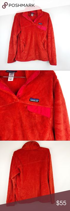 """Patagonia orange women's pullover size medium EUC Patagonia women's orange snap pullover size medium Bust: 40"""" sleeves: 24"""" full length: 26"""" No trades please, offers are welcome 💗 Patagonia Jackets & Coats"""