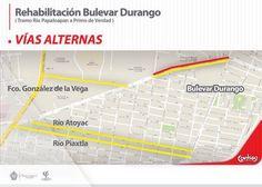 Te presentamos las vías alternas, para que evites el tráfico mientras  se realizan las obras de rehabilitación del Bulevar Durango