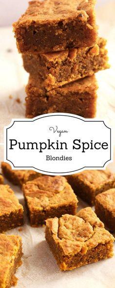 your bake on with this easy vegan pumpkin spice blondies recipe. It taste like fall in a bite!Get your bake on with this easy vegan pumpkin spice blondies recipe. It taste like fall in a bite! Healthy Vegan Dessert, Cake Vegan, Low Carb Dessert, Vegan Treats, Healthy Dessert Recipes, Healthy Pumpkin Desserts, Healthy Pumpkin Recipes, Pumpkin Baking Recipes, Dairy Free Pumpkin Recipes