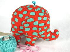 Coral and Turquoise Elephant Pincushion 4/50