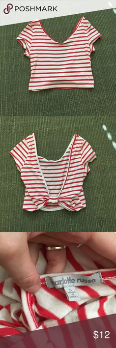 Red stripped crop top with low back! Worn once, perfect condition stretchy crop top! Charlotte Russe Tops Crop Tops