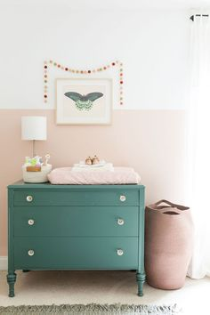 Maxpatch Studio ORC Week The reveal! — Maxpatch Studio color block wall pink and green girl nursery- s Maxpatch Studio ORC Week The reveal! — Maxpatch Studio color block wall pink and green girl nursery- so adorable! Pink And Green Nursery, Pink Bedroom For Girls, Pink Room, Bedroom Green, Baby Bedroom, Little Girl Rooms, Nursery Room, Green Girl, Girl Nursery
