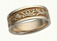 Celtic Triangle & Thistle Knot Wedding Band- Shown in 14kt White Gold with 18kt Yellow Gold Electroplating- ( We make this ring in sterling silver, 14kt yellow, white, rose, green, palladium and platinum) - email us for more information. designet@raru.com