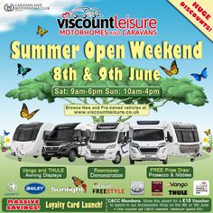 Viscount Leisure's Spectacular Open Weekend on the & June Camping And Caravanning Club (C&CC) members - print or show this advert and get OFF your spend in our extensive accessories shop over the weekend! Viscount, Caravans, Happy Campers, Weekend Is Over, Van Life, Motorhome, Accessories Shop, June, Camping