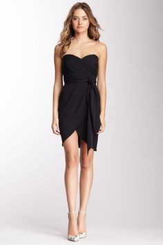 Silk Blend Strapless Belted Dress