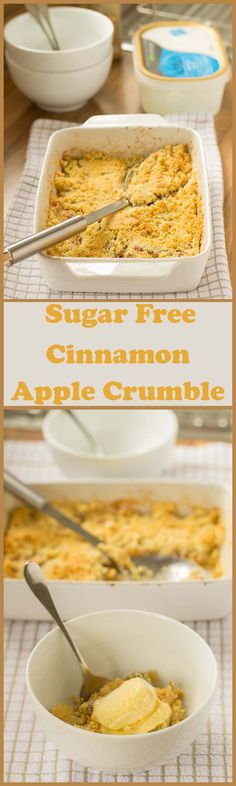 Enjoy this deliciously sweet, sugar free, cinnamon apple crumble knowing that it's much healthier than the traditional sugar laden alternative. This is an incredibly simple pudding recipe too, burstin (Apple Recipes Crumble) Sugar Free Deserts, Sugar Free Treats, Sugar Free Recipes, Apple Recipes, Apple Desserts, Paleo Dessert, Diabetic Desserts, Dessert Recipes, Diabetic Puddings