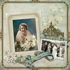 Mollie McClellan...sweet heritage wedding page created with Portraits of the Past digi kit.