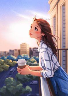 Cartoon Girl Images, Cute Cartoon Girl, Cartoon Girl Drawing, Cartoon Art Styles, Cartoon Drawings, Beautiful Girl Drawing, Beautiful Beautiful, Girly Drawings, Sunset Colors