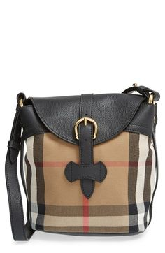 4dae0078463c Burberry  Small Sycamore  Check  amp  Leather Crossbody Bag available at  Nordstrom  Burberry