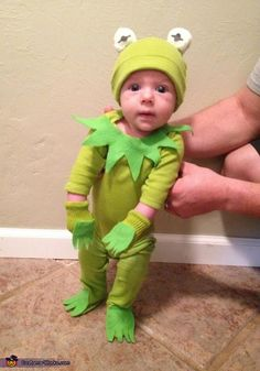 Kermit the Frog - cute DIY baby costume... This is so cute! But, is there a way to make one for my dog? I've wanted Dexter and Delilah to be Kermit and Miss Piggy for Halloween for a couple years now!