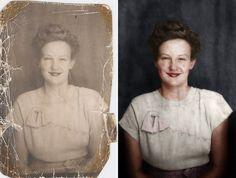 Cómo restauran y colorean los profesionales una vieja fotografía en blanco y…