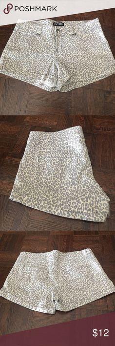 Forever 21 Gray Denim Leopard Print Shorts Adorable jean shorts with gray leopard print. Only worn once! Great for summer Forever 21 Shorts Jean Shorts