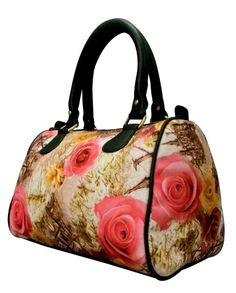 Ivory with pink flowers Digital Print Hand bag for only 1049/-