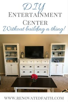 DIY Entertainment Center - I'm so happy with how this project turned out. I needed a solution to fill this large blank wall! The media centers I saw in stores weren't my style and were way too expensive. So glad I found this inexpensive solution without having to build anything!  www.renovatedfaith.com