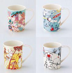 New Moomin Valley Four seasons Mug Cup Yamaka 4 set Made in Japan MoominValley
