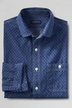 00cef0d2aa6 Men s Chambray Shirt from Lands  End Men Casual