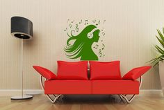 Woman Silhouette Girl in Headphones Hair Art Housewares Wall Vinyl Decal Sticker Design Interior Decor Bedroom Recording Music Studio SV4158