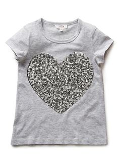 100% Cotton tee. Short sleeve tee featuring metallic heart print at front. Regular fitting silhouette. Available in Cloud as shown.