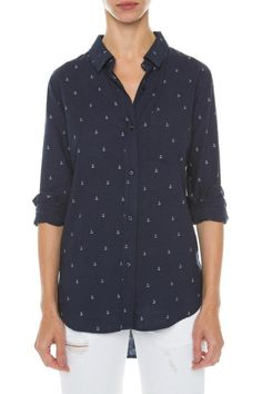 A classic linen shirt that features a mini anchor print and a single chest pocket.   Charli Anchor Shirt by Rails. Clothing - Tops - Button Down Clothing - Tops - Long Sleeve Canada