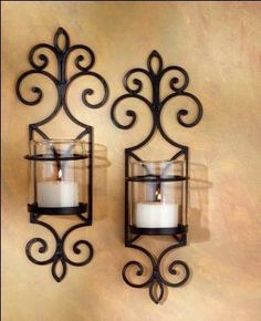 Wrought+Iron+Wall+Decor | Pair of Wrought Iron Candle Holders ...