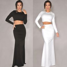Two-piece Woemn Lady Sexy Black White Trendy Long Maxi Skirts Set Tops Dresses Black Pencil Skirt Outfit, Long Pencil Skirt, Pencil Skirt Outfits, Long Maxi Skirts, Cool Outfits, Two Piece Skirt Set, Bodycon Dress, Clothes For Women, Black White