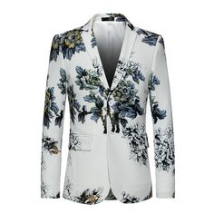 Mens Floral Blazer Brand Casual Blazer Jacket Men Gold Flower Fashion Print Blazers Male Prom Party Stage Wear Pure And Mild Flavor Suits & Blazers