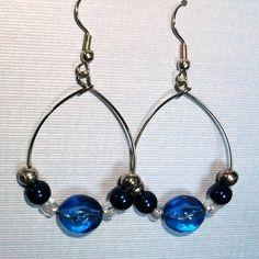 blue and black hoop earrings