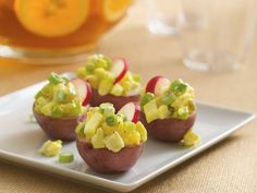 Potato Salad Bites - awesome way to dress up your appetizers - AND a great way for those of us watching our calories, too - great, flavorful bite of the 'real deal' without the gigantic scoop of salad!