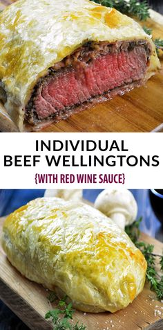 Wellington Recipe - just like Gordon Ramsey's Beef Wellington. Decadent and tender filet mignon, topped with a rich mushroom duxelles, delicate prosciutto and wrapped in a golden, buttery puff pastry. Individual Beef Wellington is th. Beef Wellington Sauce, Gordon Ramsey Beef Wellington, Easy Beef Wellington, Beef Wellington Recipe Without Mushrooms, Beef Recipes For Dinner, Meat Recipes, Cooking Recipes, Healthy Recipes, Uk Recipes