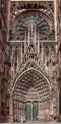 Cathedrale de Strasbourg, France by Batistini Gaston. Photo taken on 2004. Beautiful details in picture and stunning architecture.