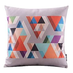 Colorful Triangle Mosaic Cotton/Linen Decorative Pillow Cover – AUD $ 18.05